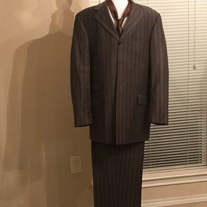 Steve Harvey Collection 2-pc Brown Pinstripe Suit